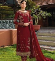 Excellent Embroidered Georgette Straight Suit Maroon (DM05)