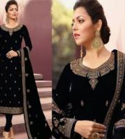 Black-Georgette Heavy Embroidered Work Style Churidar Suit (DB06)